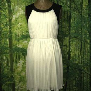 ALICE MOON Pleated Ivory Chiffon Dress